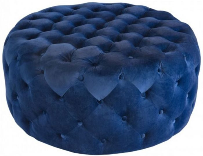 round navy fabric pouffe