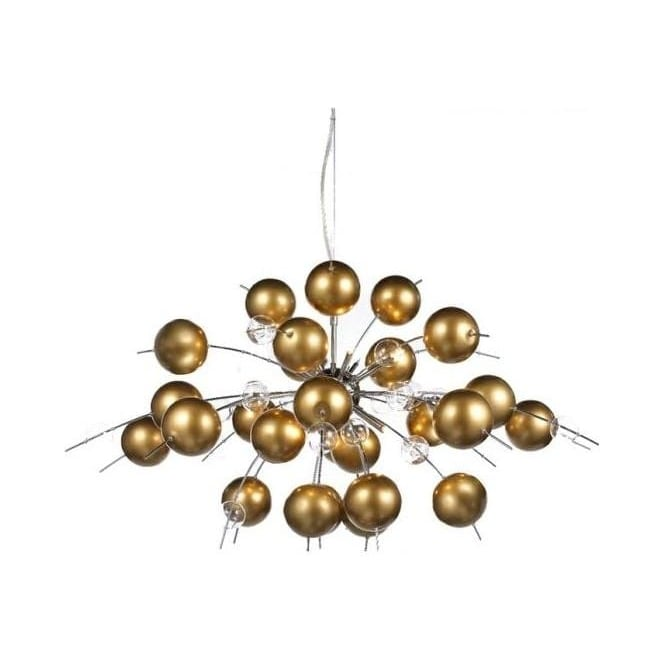 10 Lamp Golden Ball Chandelier