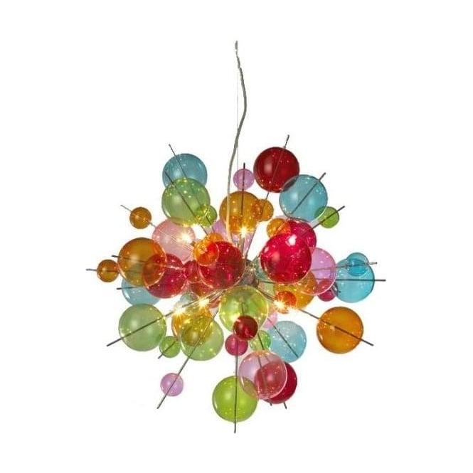 10 Lamp Multicoloured Ball Chandelier