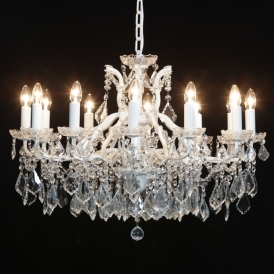 12 Branch White Crackle Antique French Style Chandelier