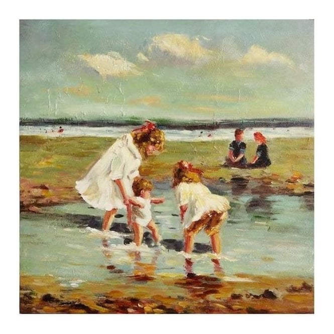 2 Girls & Baby On Beach Painting