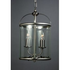 2 Light Orly Satin Nickel Round Lantern