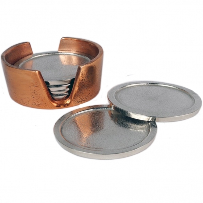 2 Sets of 6 Coasters (Brass/Nickel)