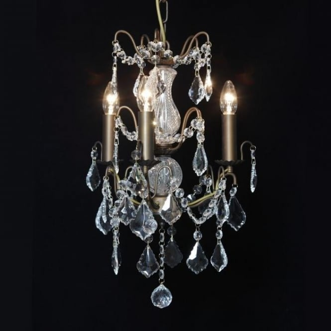 3 Branch Small Bronze Antique French Style Chandelier