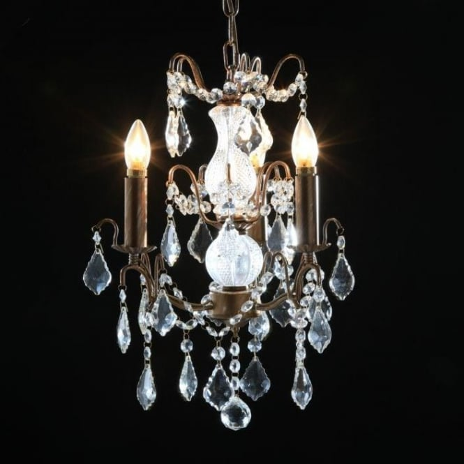 3 Branch Small Gold Antique French Style Chandelier
