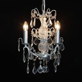3 Branch Small Silver Antique French Style Chandelier