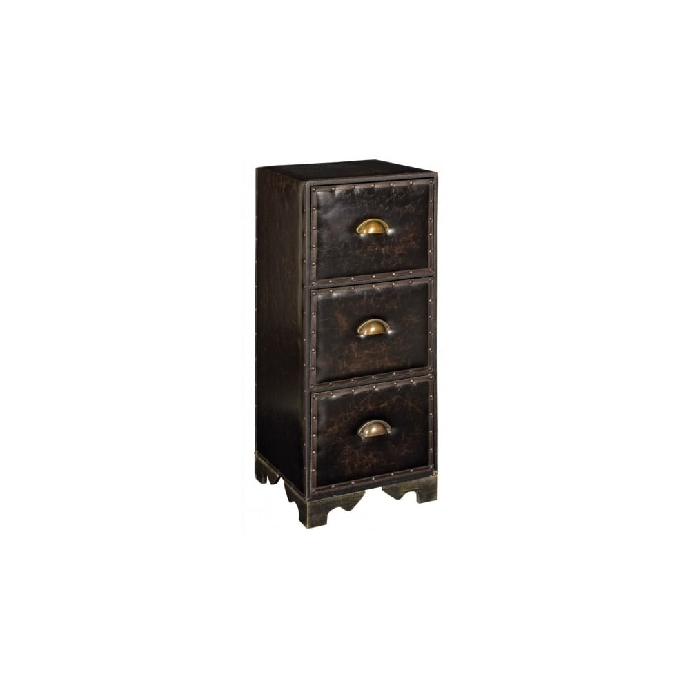the best attitude 0ee62 9f4c9 3 Drawer Faux Leather Bedside Cabinet