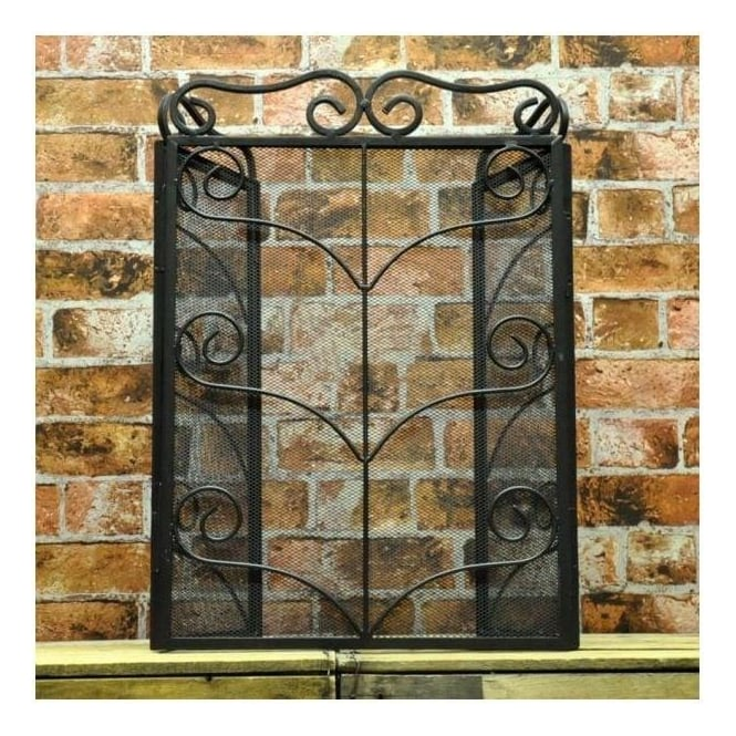 3 Fold Black Steel Firescreen