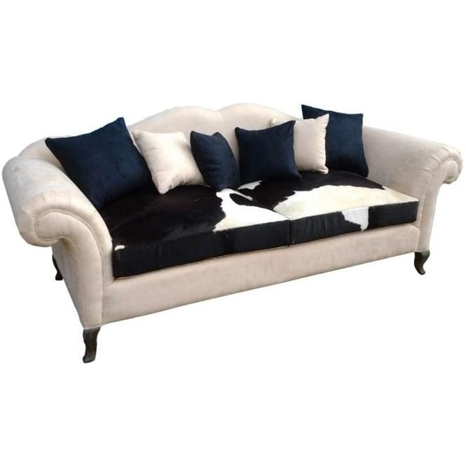 3 Seater Sofa With Cow Skin Seat