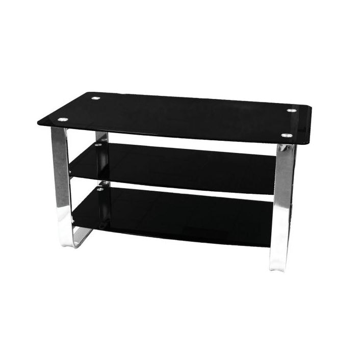 more photos 66135 00be1 3 Tier Black Tempered Glass TV Stand With Chrome Frame