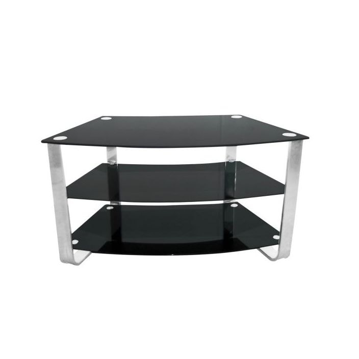 3 Tier Curved Black Tempered Glass Tv Stand With Chrome Frame
