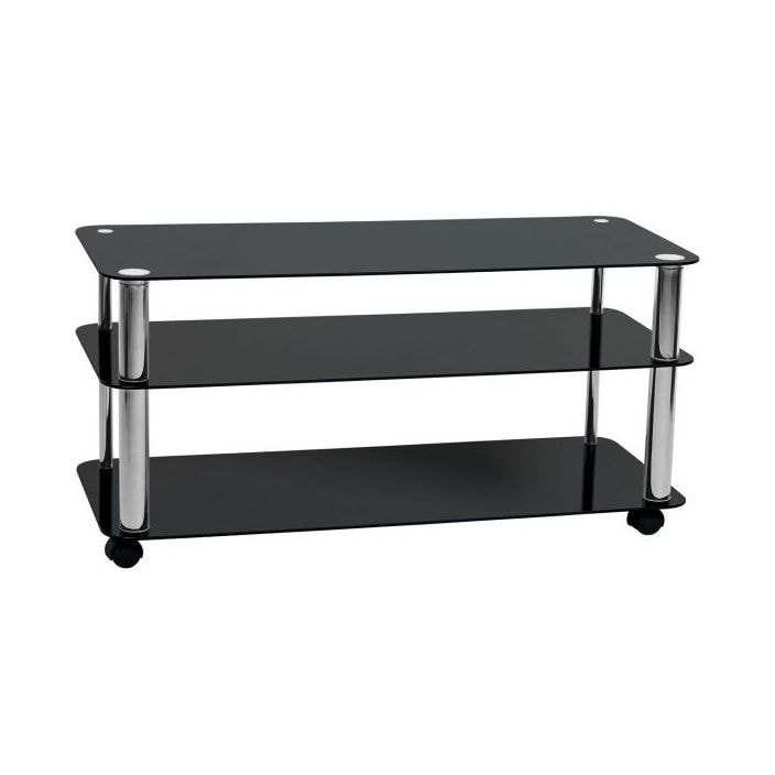 3 Tier Tv Stand With Black Glass Shelves French Furniture From