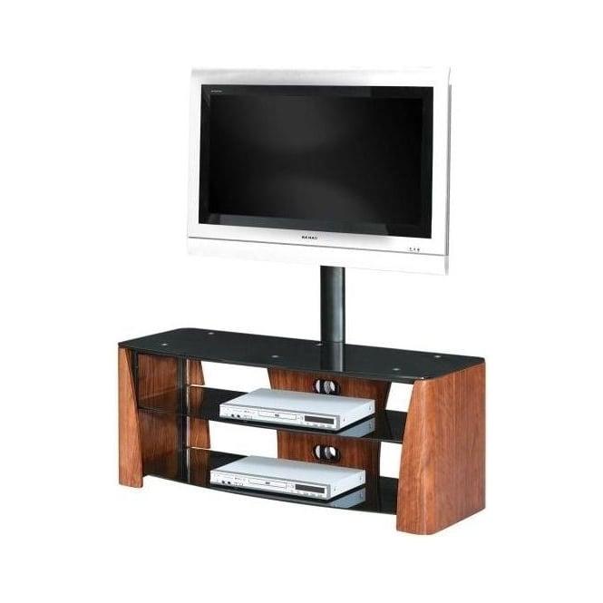 3 Tier Walnut Veneer Black Tempered Glass TV Unit