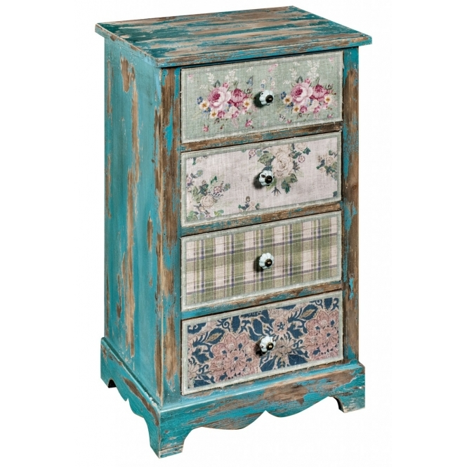 4 Drawer Shabby Chic Bedside Table