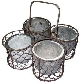 4 Pots In Wire Caddy