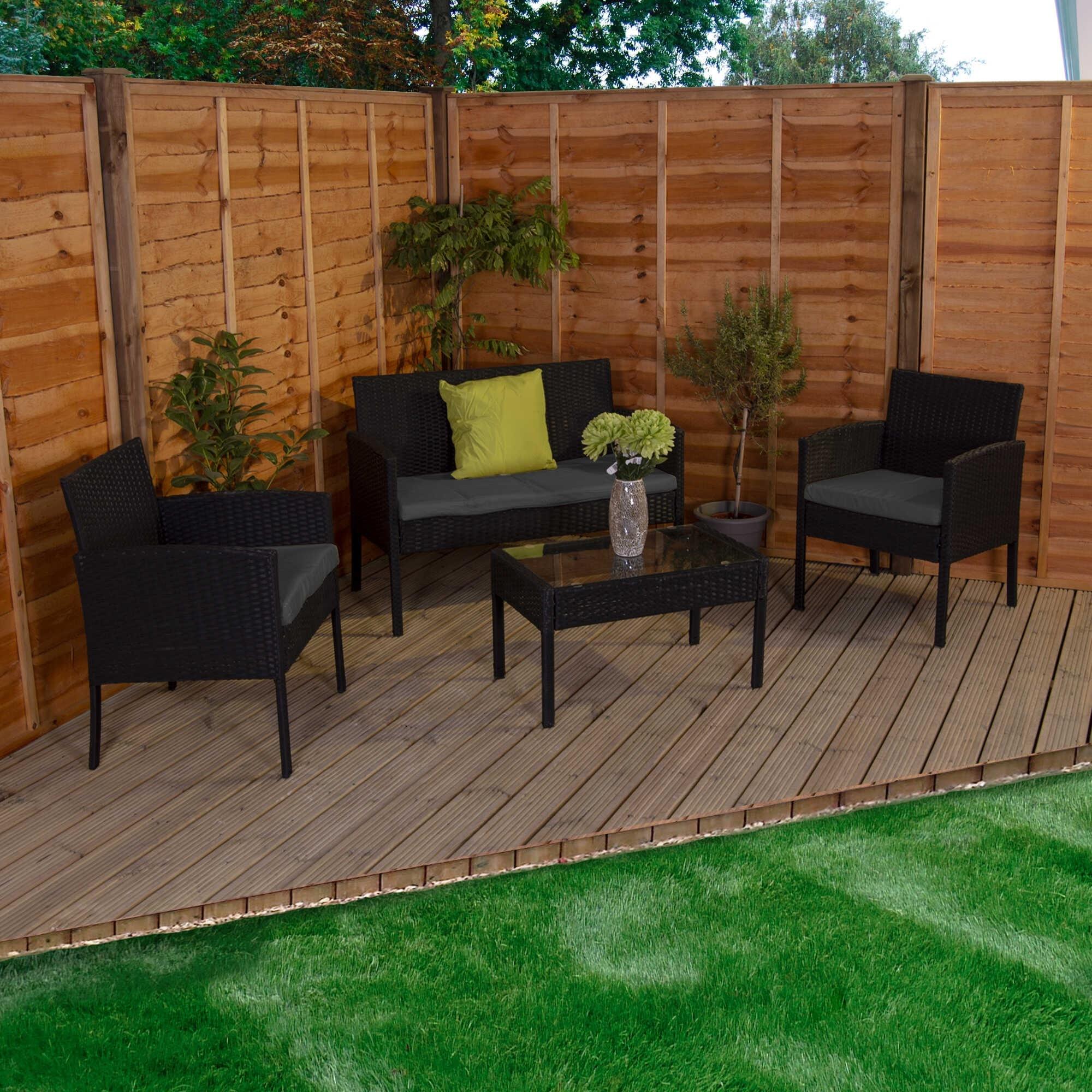 4 Seater Garden Set Grey Black Kendal Garden Furniture