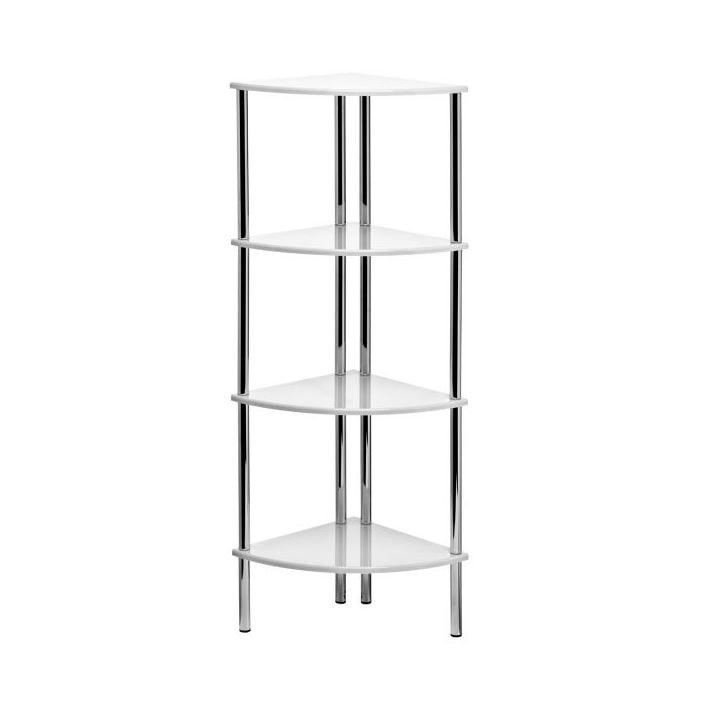 4 tier corner shelf unit white hi gloss french furniture. Black Bedroom Furniture Sets. Home Design Ideas