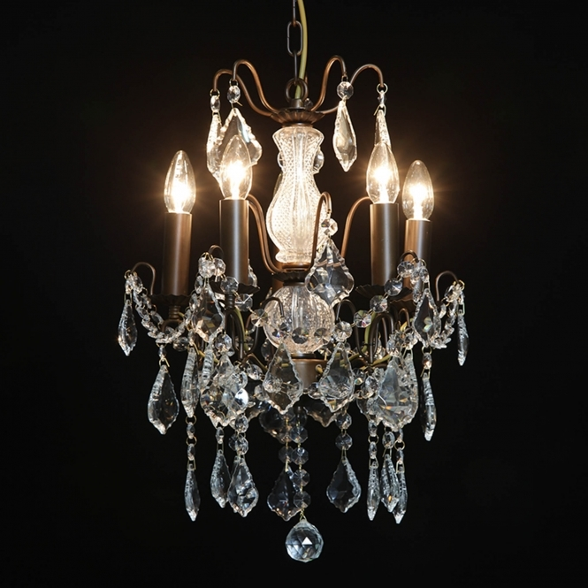 5 Branch Small Bronze Antique French Style Chandelier