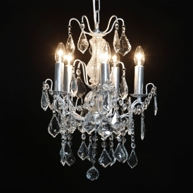 5 Branch Small Silver Antique French Style Chandelier