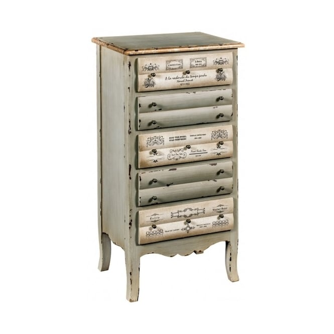 5 Drawer Shabby Chic Tallboy Chest