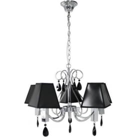 5 Light Pendant with Black Shades
