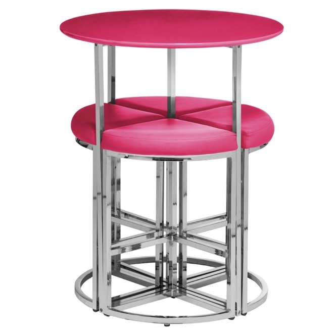 5Pc Table And Stool Set - Pink