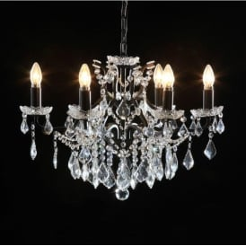6 Branch Black Antique French Style Chandelier