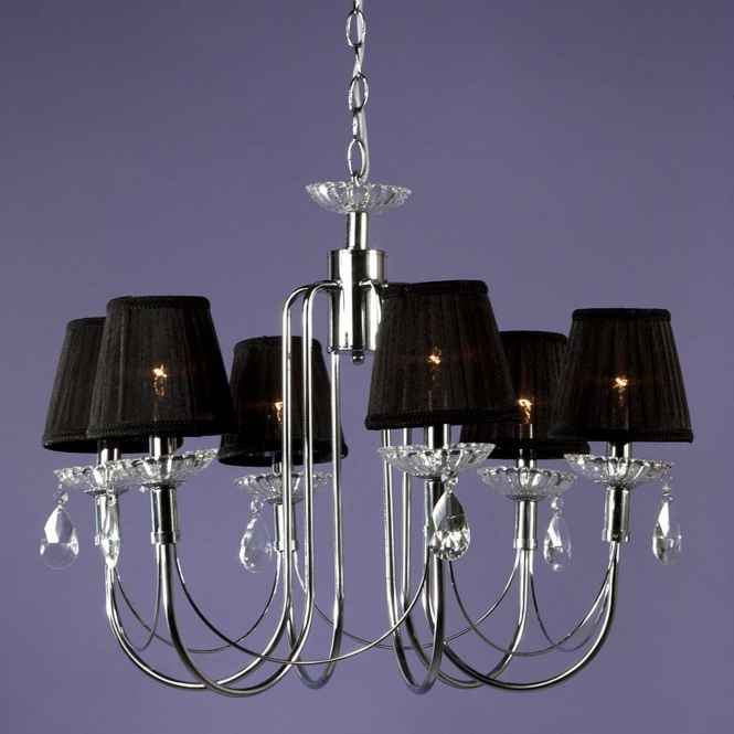6 Light Black Shade Antique French Style Chandelier