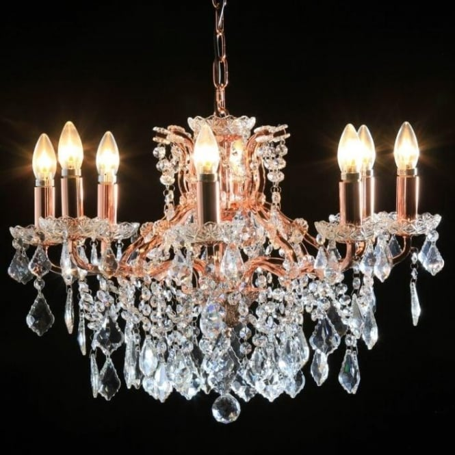 8 Branch CopperRose Gold Antique French Style Chandelier