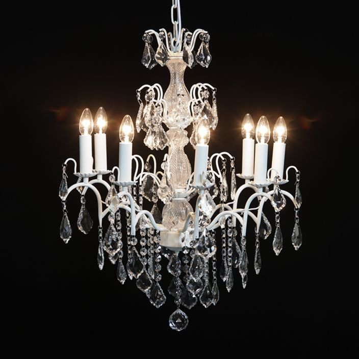 8 branch crackle white antique french style chandelier aloadofball Gallery