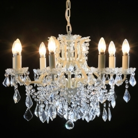 8 Branch White Crackle Antique French Style Chandelier