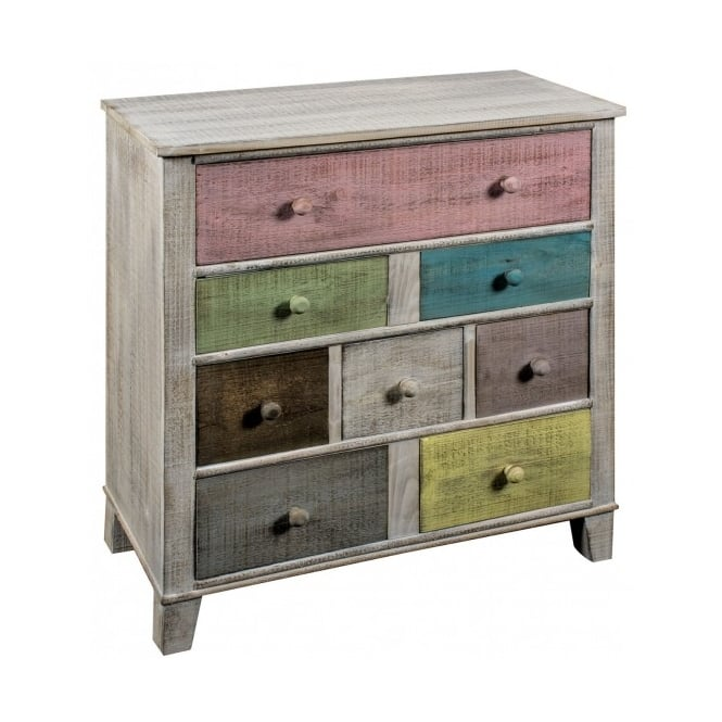 8 Drawer Multicoloured Shabby Chic Tallboy Chest