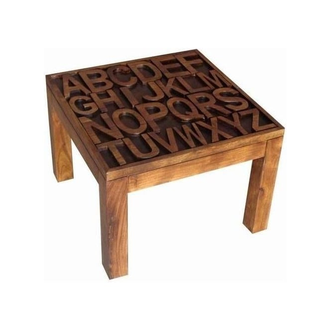 Acacia Lisbon Alphabet Side Table
