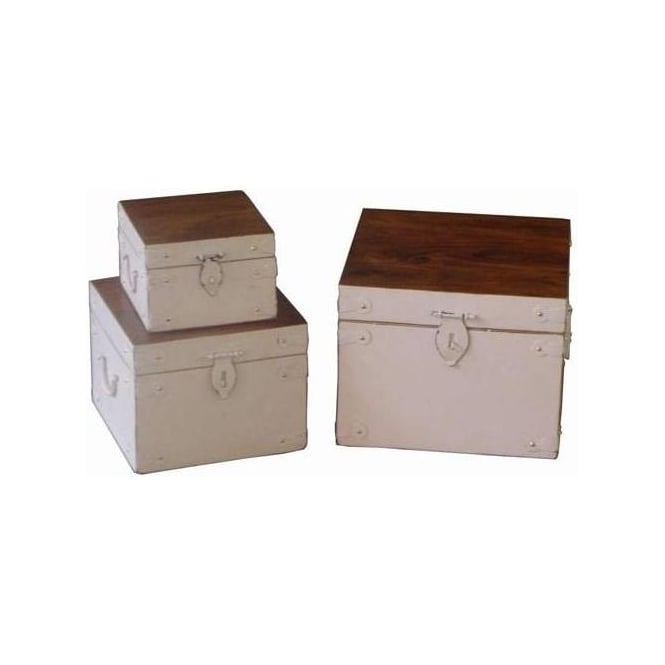 Acacia Lisbon Country Set Of 3 Boxes with Studs