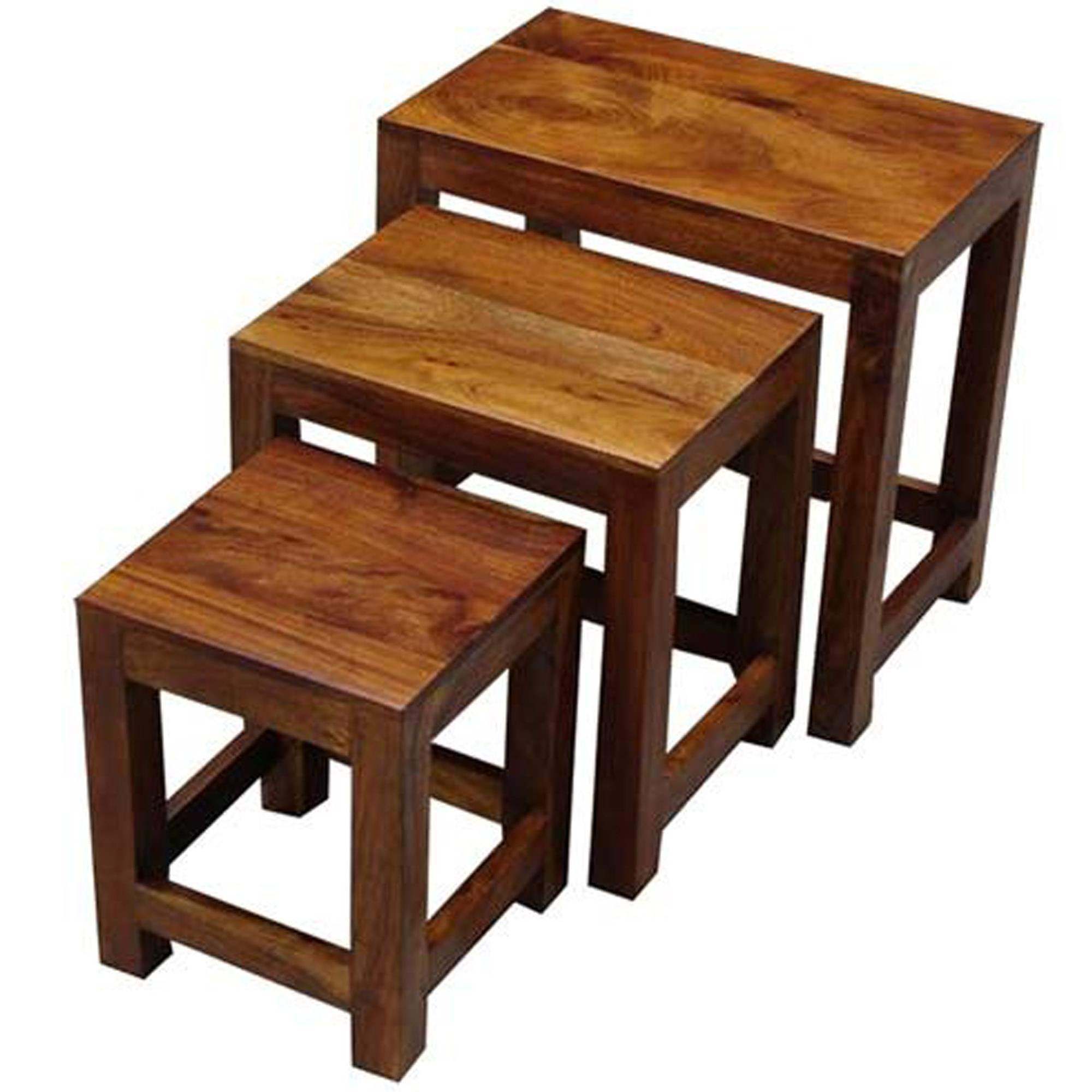 Acacia Wood Nest Of Small Tables Natural Wood Side Tables Hd365