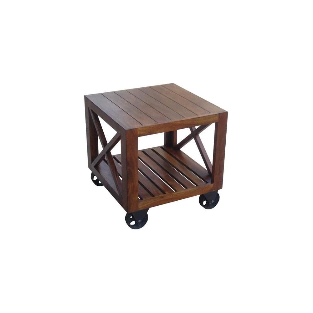 Acacia Wood Side Table On Wheels