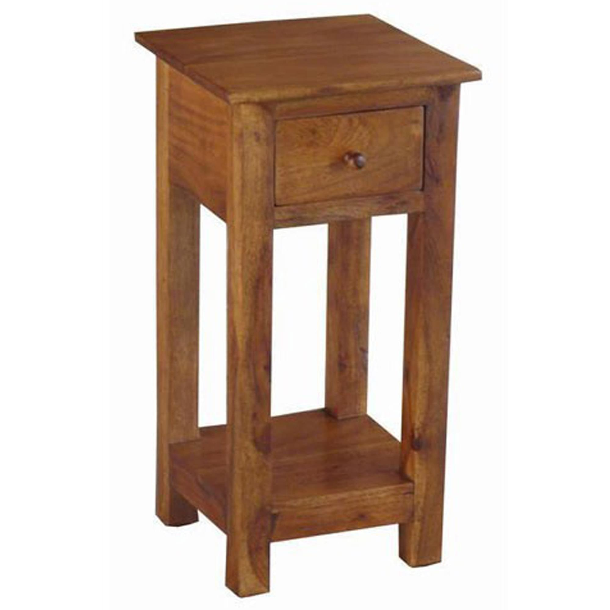 Acacia Wood Tall Thin Side Table Wooden Furniture Homesdirect365