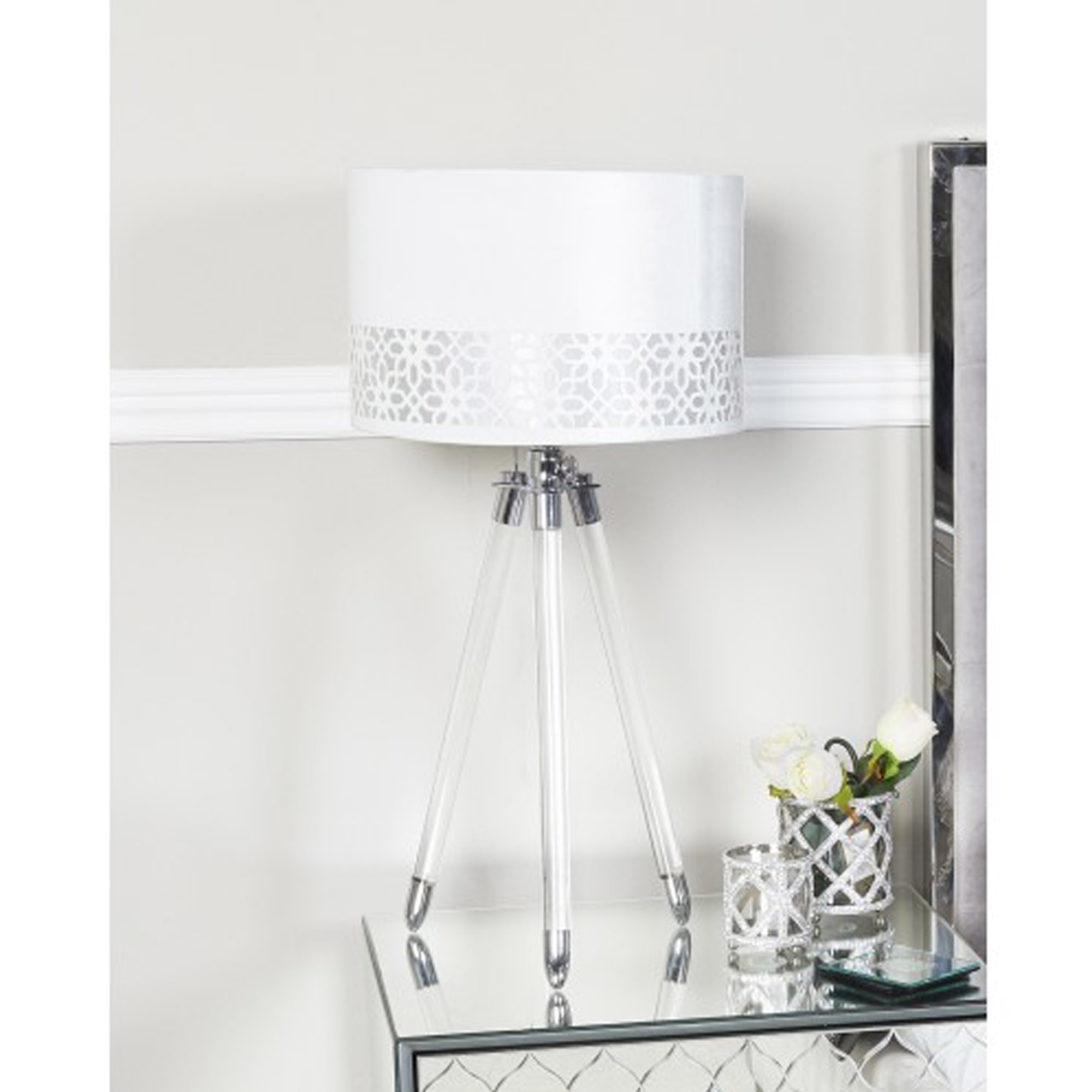 Acrylic Tripod Table Lamp With Silver