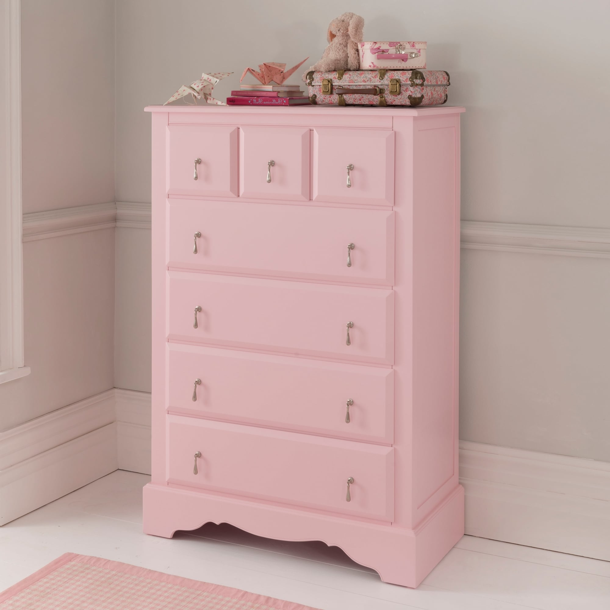 louis top baroque style drawers of and xv pink with white commode chest en