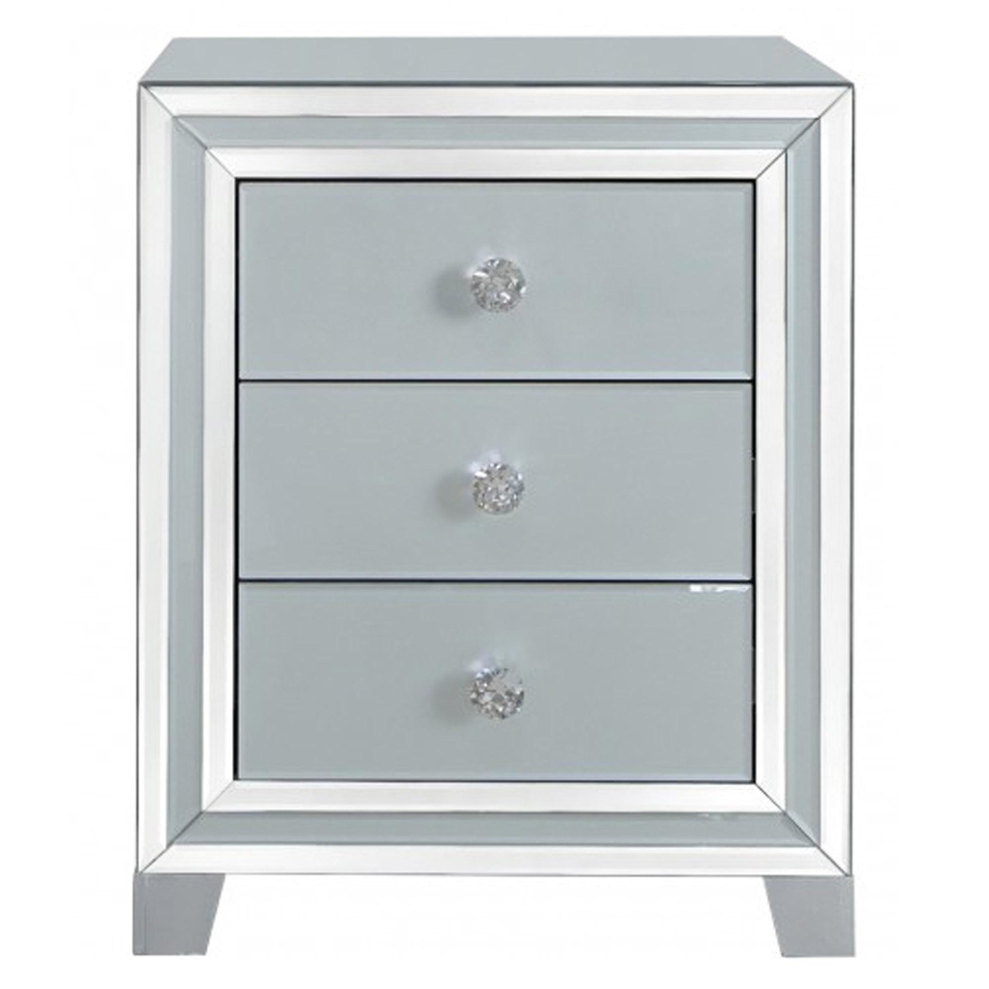 3df6ba5816fb Alghero Grey Mirrored 3 Drawer Bedside Table | Contemporary Bedroom
