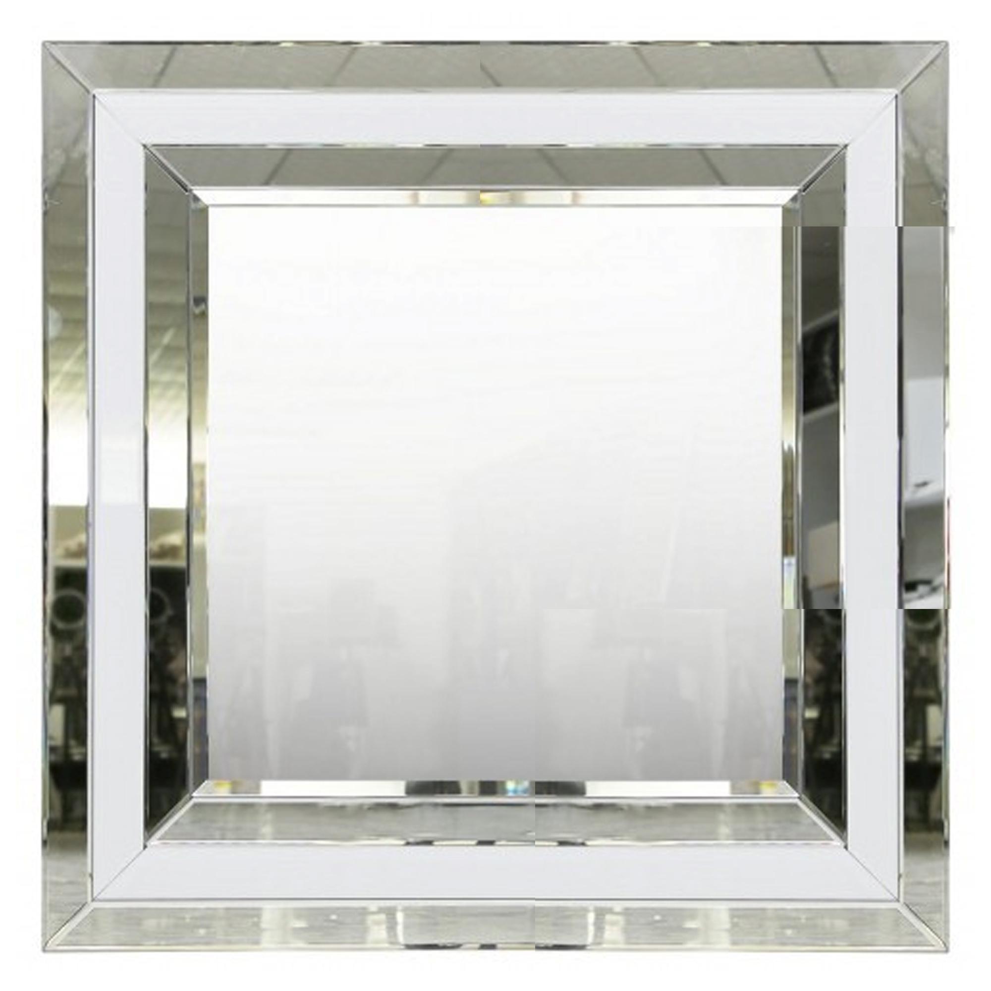 Alghero White Mirrored Square Wall Mirror Wall Mirrors