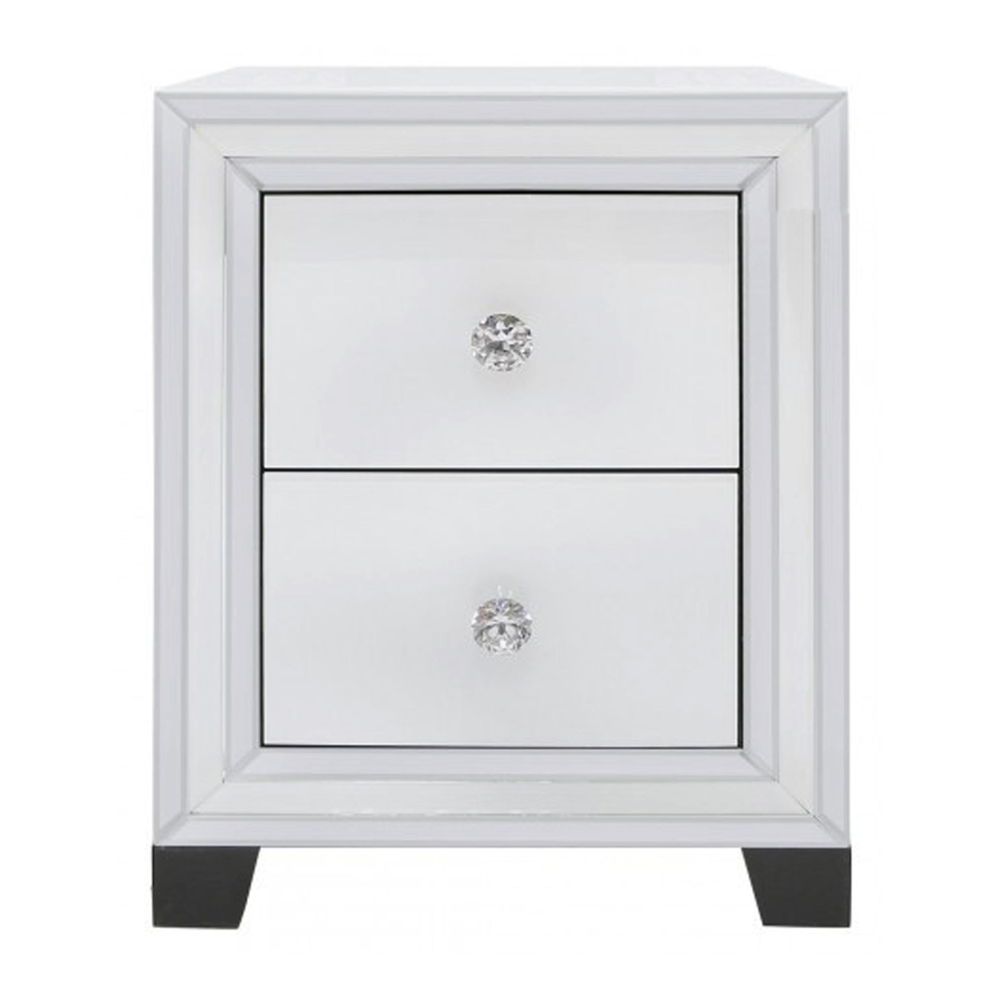 Alghero White Small Mirrored Bedside Cabinet