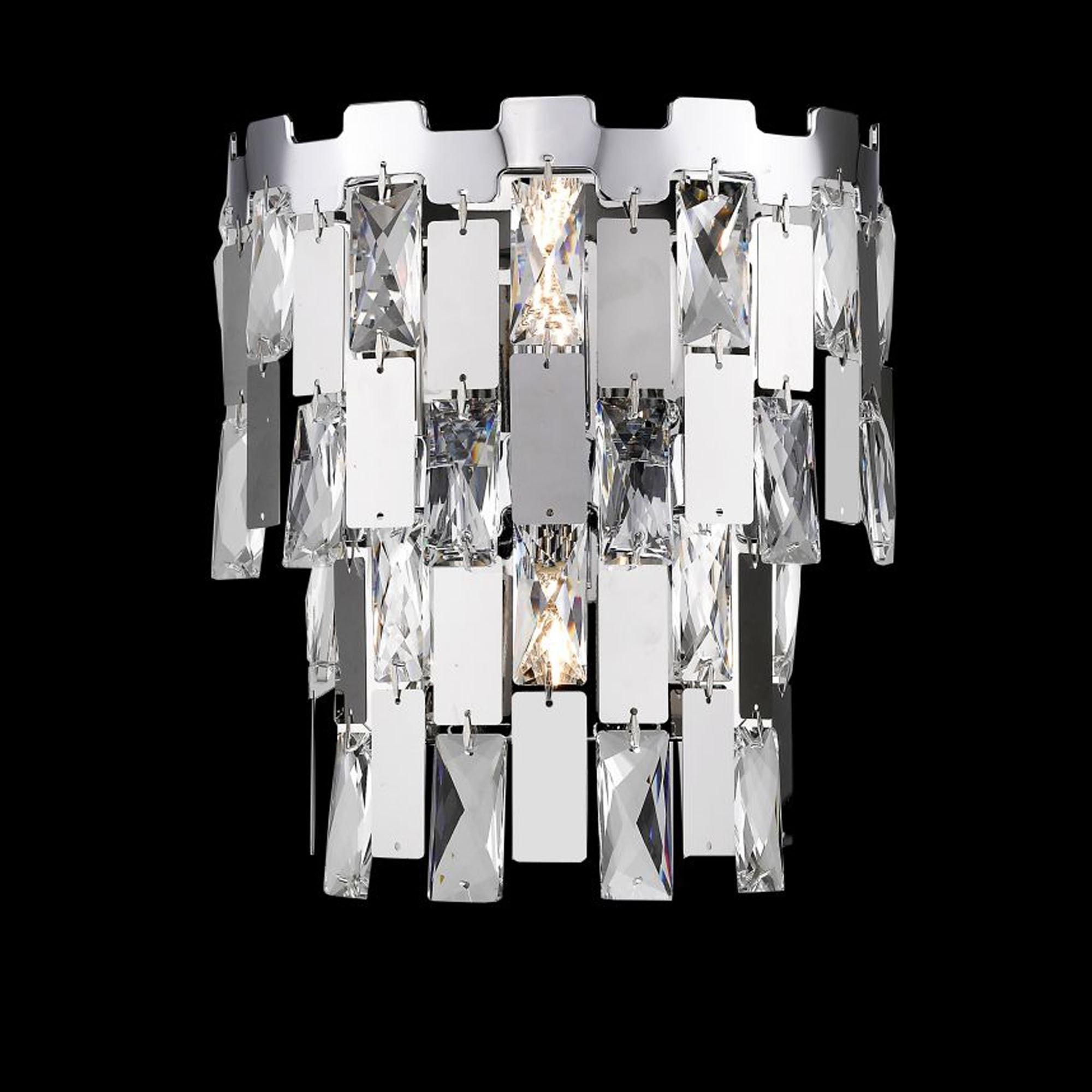 Alma 2 Light Chrome Crystal Wall Light