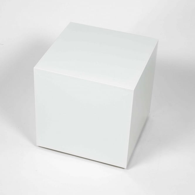 Almond White Glass Cube