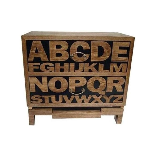 Alphabet 2 Drawer Wooden Cabinet