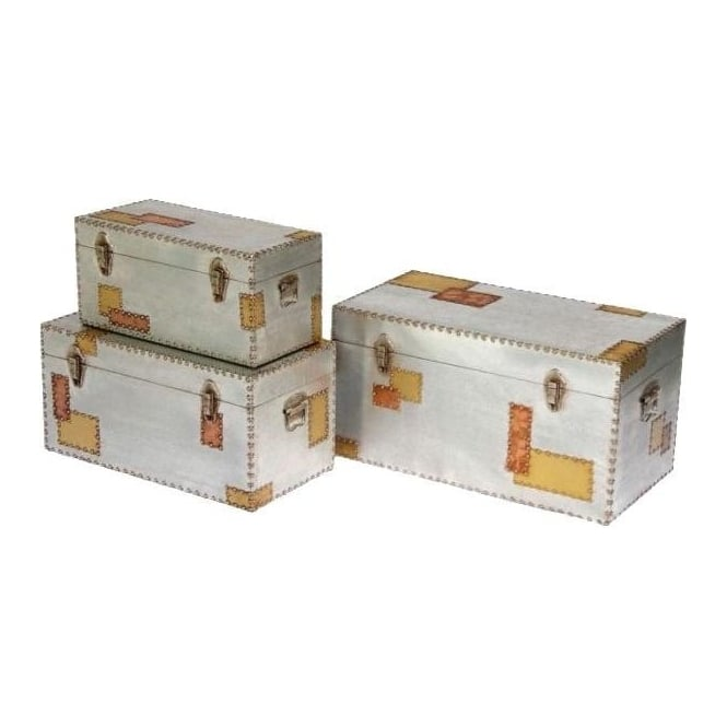 Aluminium and Copper Set of 3 Trunks
