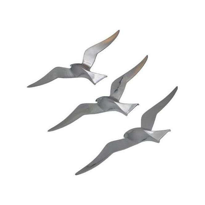 Aluminium Set Of 3 Seagulls