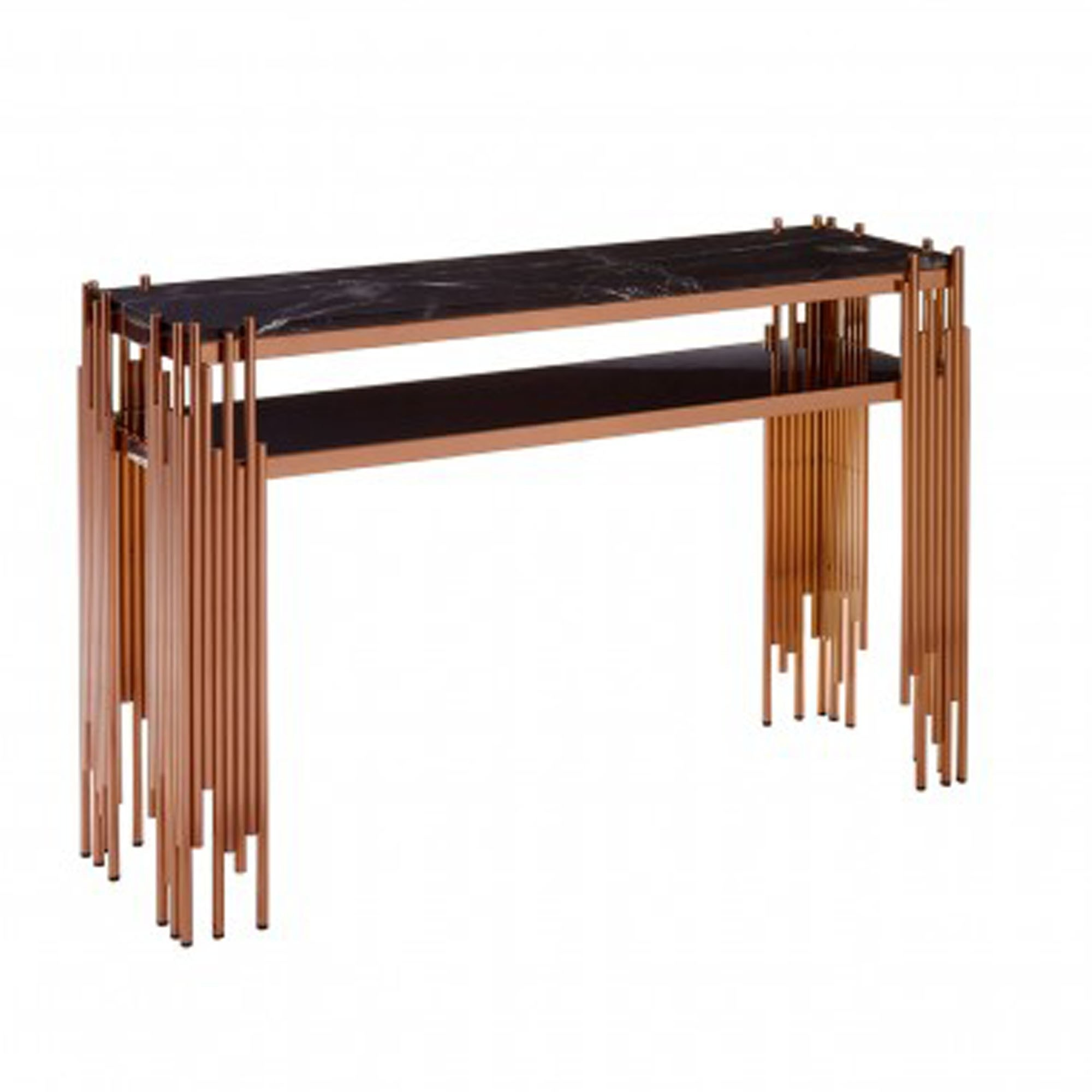 Alvaro Black Marble Rose Gold Table Modern Furniture Console Table