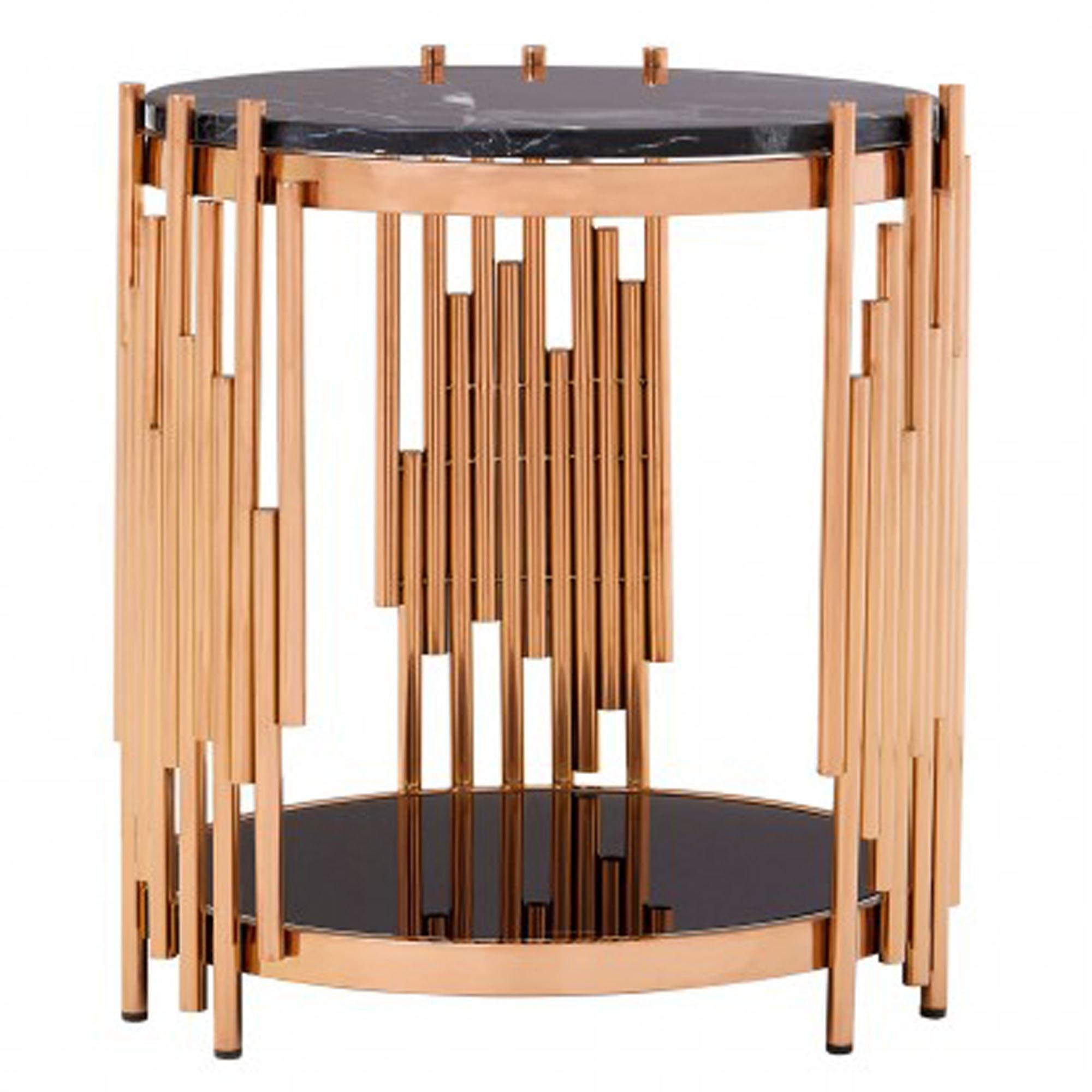 Alvaro Rose Gold Marble Side Table Modern Furniture Side Tables