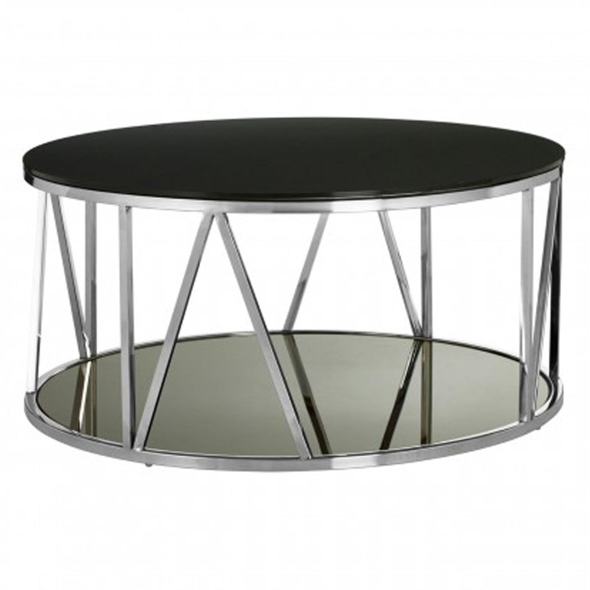- Alvaro Round Chrome Finish Coffee Table Modern Furniture